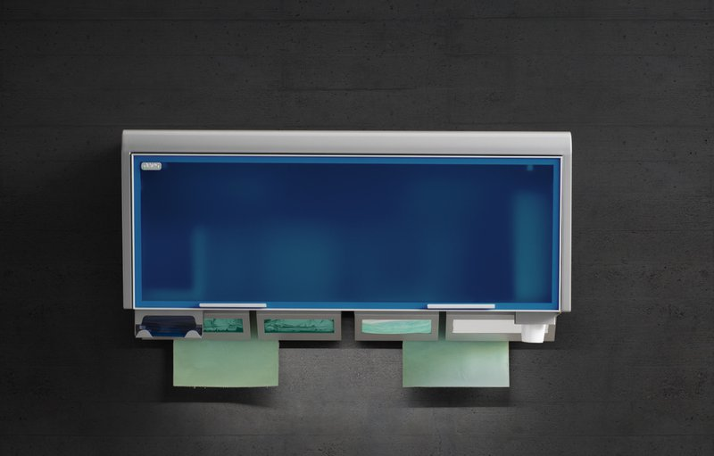 The wall units of serie Box for single-use products for dental room