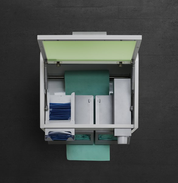 The wall units of serie Box for single-use products for medical cabinets