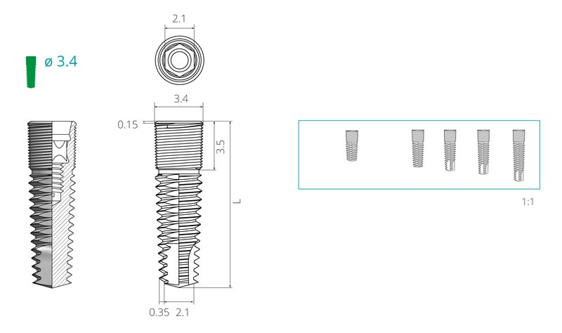 Dimensions of a screw implant with a diameter of 3,4 mm
