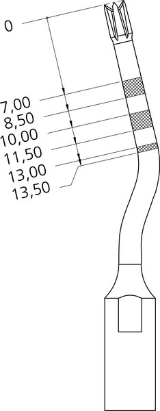 Dimensions of tip IM2A for implant site preparation, ø 2 мм