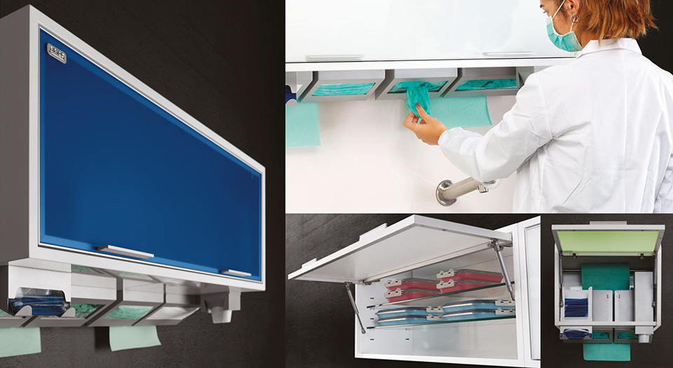 The wall units of serie QUADRABOX for single-use products for dental room