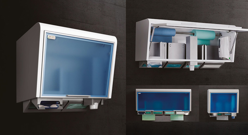 The wall units of serie TIDYBOX for single-use products for dental cabinets